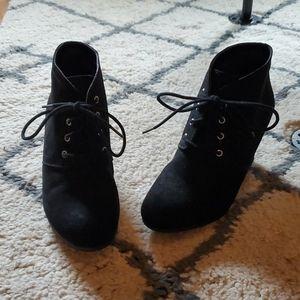 Black suede tie up booties